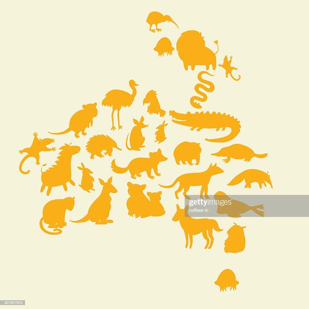 Australian animals silhouettes set. Vector illustration