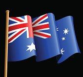 Australian flag illustration on a black background