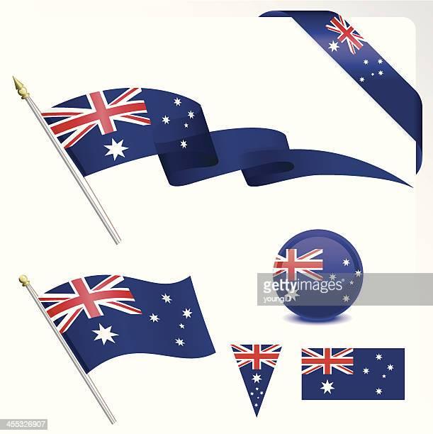 australian flag set - australian flag stock illustrations