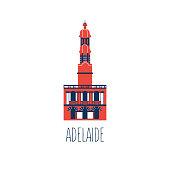 Australian landmark Telstra Tower, Perth bell tower, Old Windmill Brisbane, Adelaide Town Hall, Eureka skyscraper, Macquarie Lighthouse, cartoon travel vector illustration decorative flat symbol