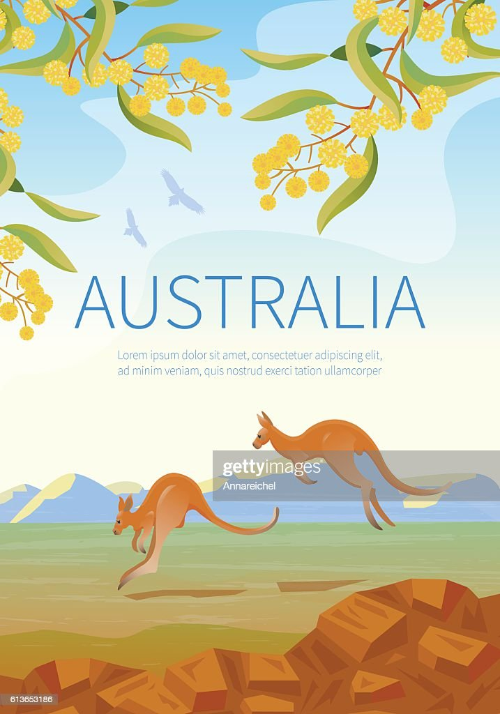 Australian landscape  poster with two Kangaroos.