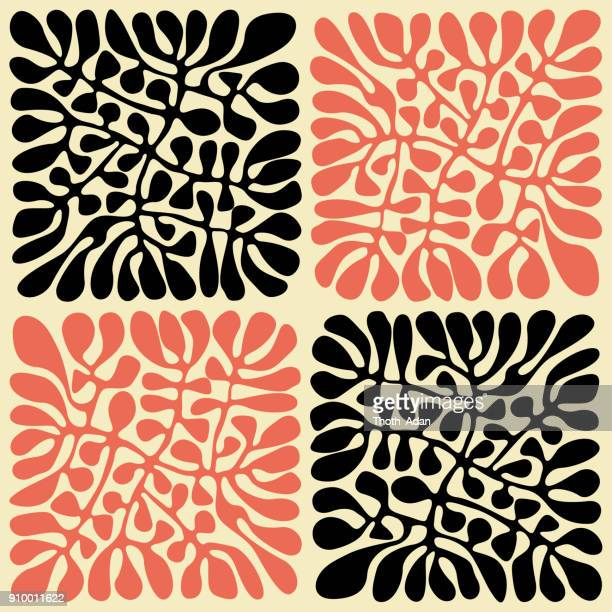 australian leaves (handmade pattern) - art and craft stock illustrations
