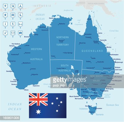 Map Showing Australia.Australian Map Showing Cities And Location Of Establishments Stock