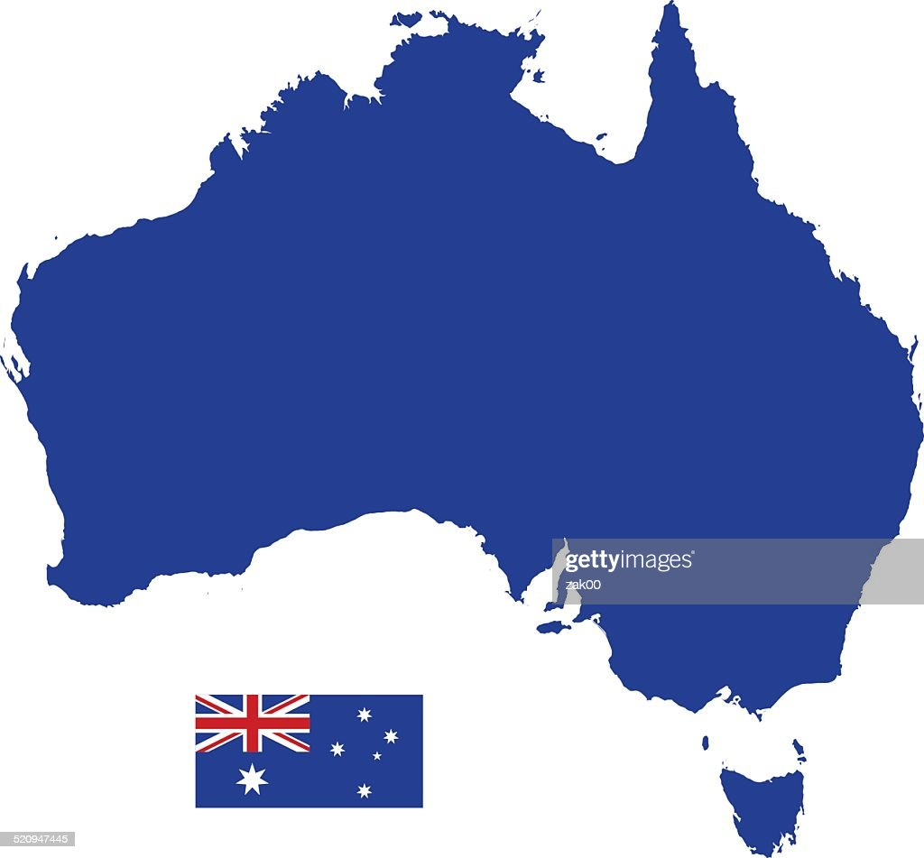 Australian Map silhouette with Flag