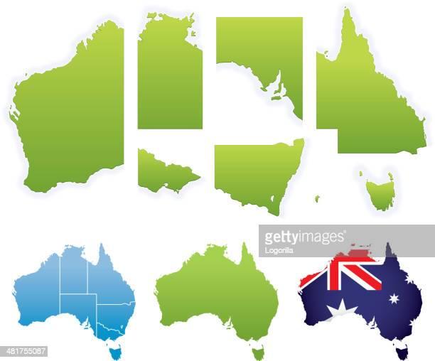 stockillustraties, clipart, cartoons en iconen met australian map & states - australian capital territory