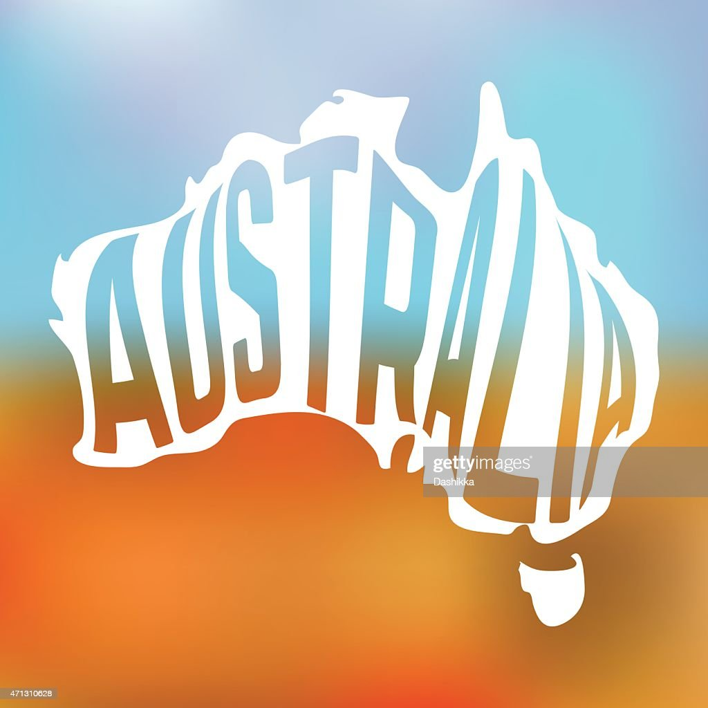 Australian map with text inside on blur background