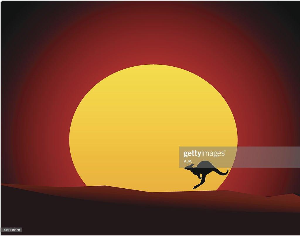Australian Outback Sunset with Kangaroo/Wallaby (Vector Illustration)