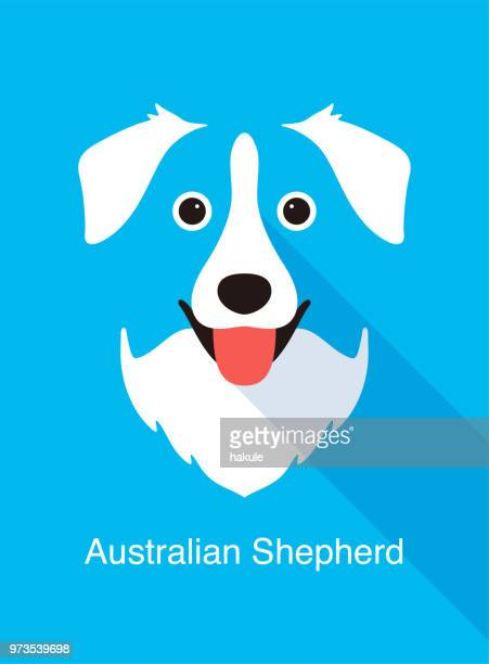 Australian Shepherd dog face flat icon design, vector illustration