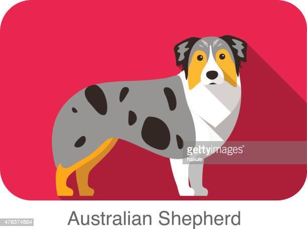 australian shepherd, dog standing flat icon design - australian shepherd dogs stock illustrations