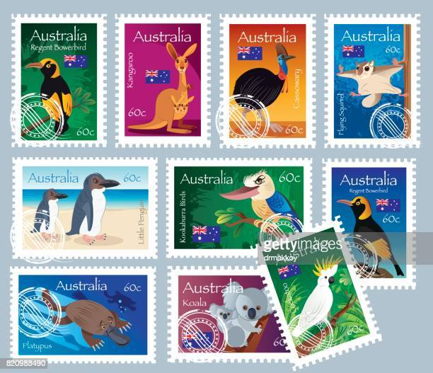 australian stamps - duck billed platypus stock illustrations