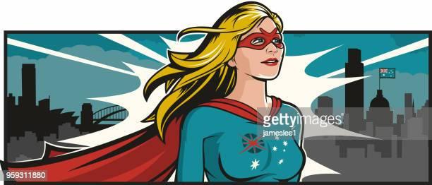 australian super woman - heroines stock illustrations