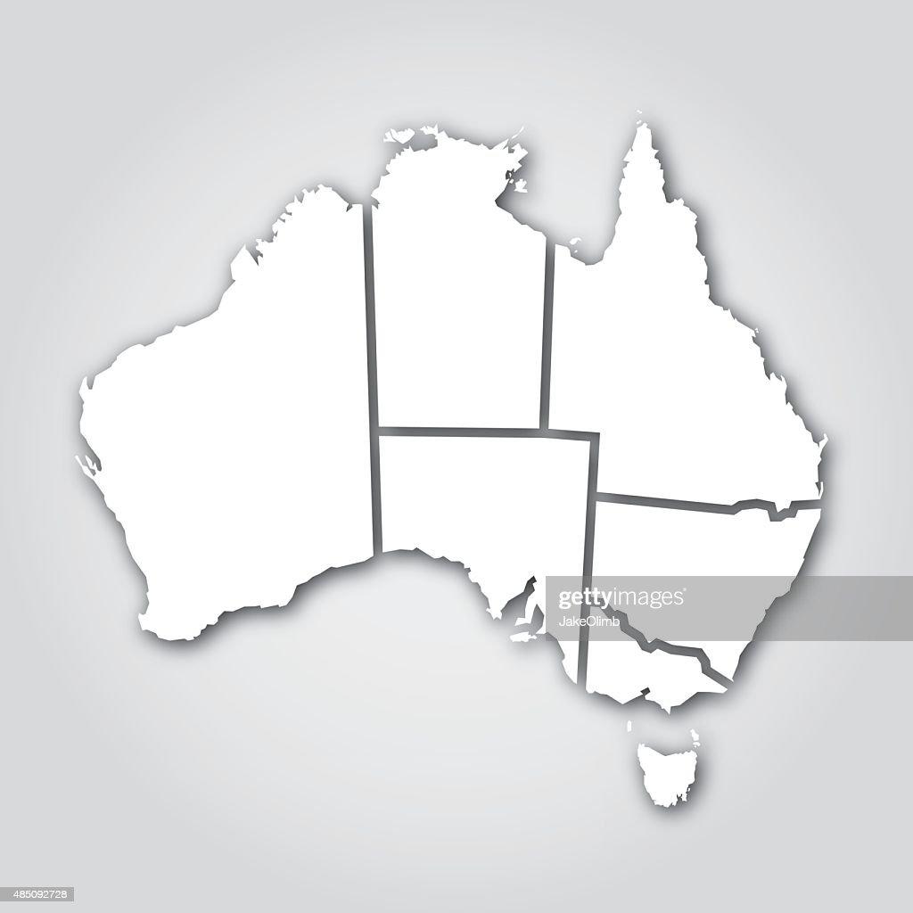Australian Territories Silhouette White : Stock Illustration