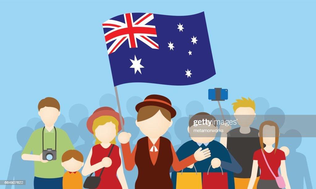 australian tourists and tour guide, Inbound tourism, vector illustration