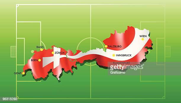 ilustraciones, imágenes clip art, dibujos animados e iconos de stock de austria y suiza campeonato europeo de 2008 - cancha futbol