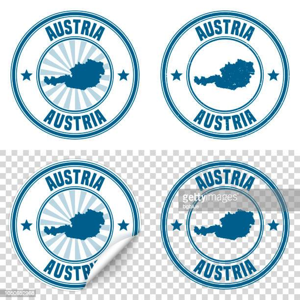 austria - blue sticker and stamp with name and map - id card template stock illustrations
