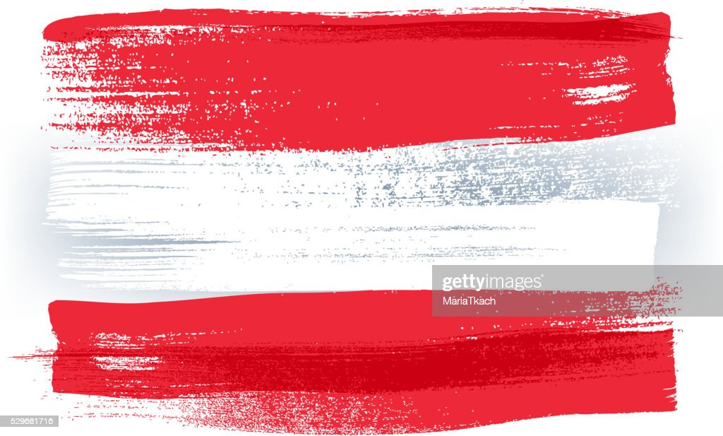 Austria colorful brush strokes painted flag