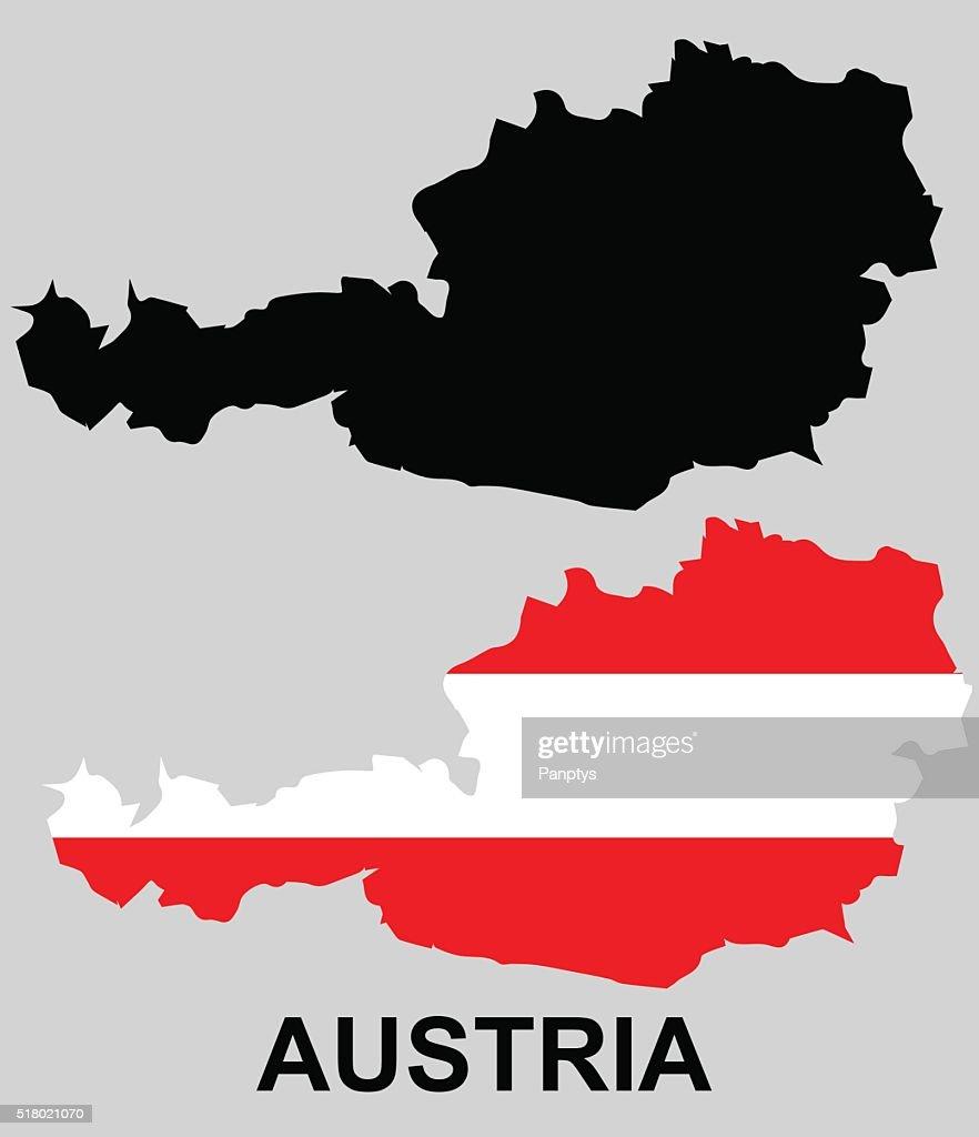 Austria - flag and borderline.