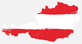 Austria Flag & Map Vector Hand Painted with Rounded Brush