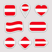 Austria flag stickers set. Austrian national symbols badges. Isolated geometric icons. Vector official flags collection. Sport pages, patriotic, travel, school, design elements. Different shapes.