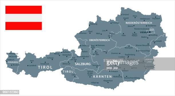 30 - österreich - graustufen isoliert 10 - österreich stock-grafiken, -clipart, -cartoons und -symbole