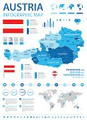 Austria - infographic map and flag - illustration