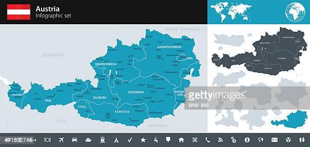 austria - infographic map - illustration - austria stock illustrations
