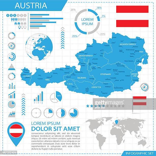 Österreich – Infografik Karte-Illustration
