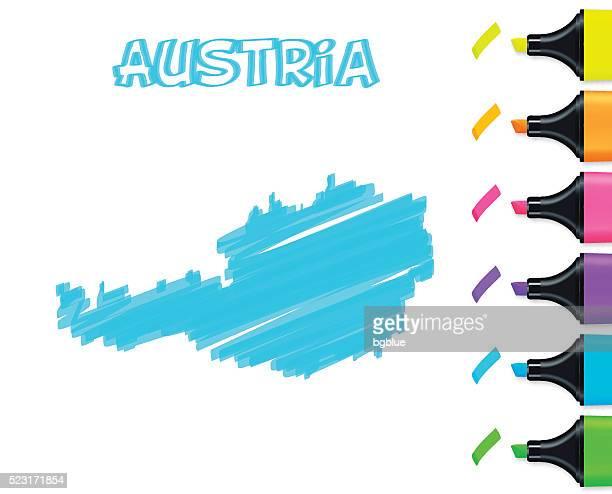 Österreich Karte handgezeichnet auf weißem Hintergrund, blau Textmarker