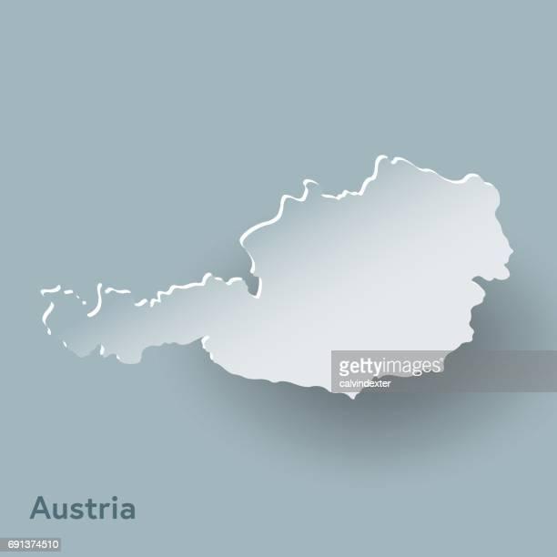 Österreich Karte in weiß und Schatten