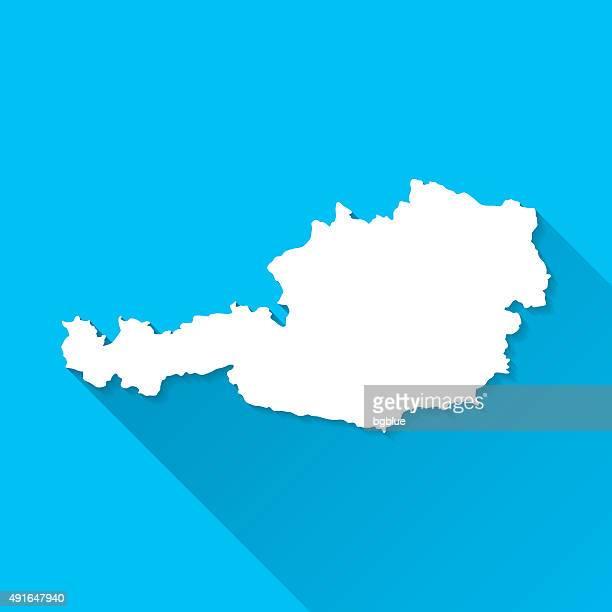 Österreich Karte auf blauem Hintergrund, lange Schatten, Flat-Design