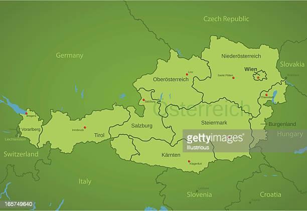 オーストリア地図を states - クラーゲンフルト点のイラスト素材/クリップアート素材/マンガ素材/アイコン素材