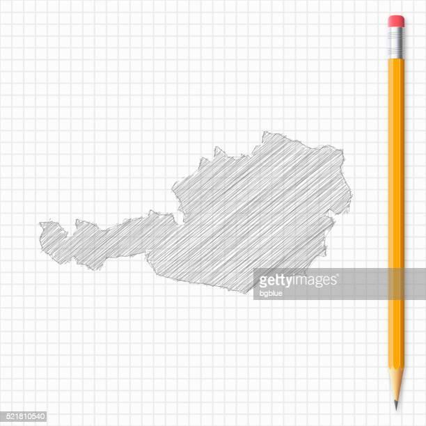 Österreich Karte Skizze mit Bleistift auf Raster Papier