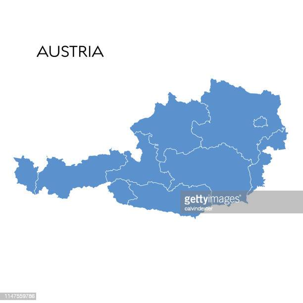 illustrazioni stock, clip art, cartoni animati e icone di tendenza di austria map - austria
