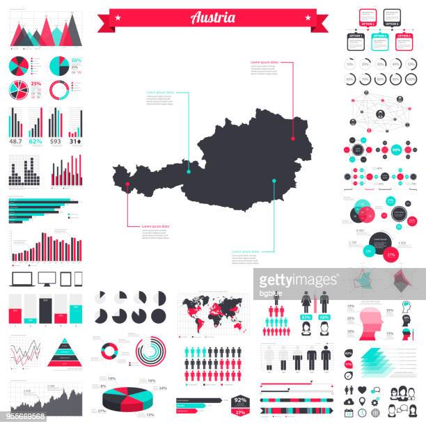 Österreich Karte mit Infografik Elemente - große kreativ-Grafik-set