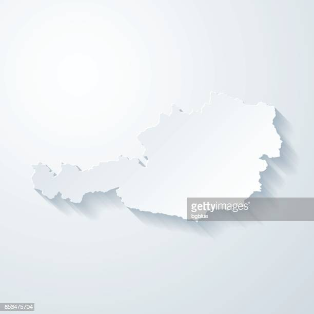 austria map with paper cut effect on blank background - central europe stock illustrations, clip art, cartoons, & icons