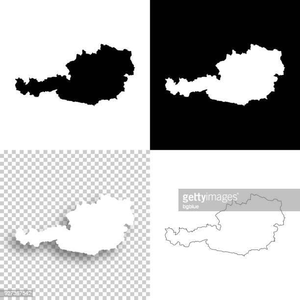 Österreich-Karten für Design - leere, weiße und schwarze Hintergründe
