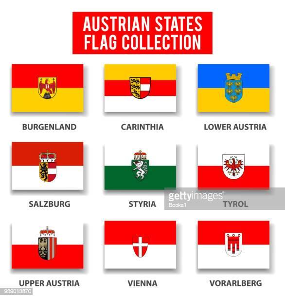 austria states flag collection - complete - vorarlberg stock illustrations