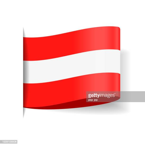 austria - tag label flag vector flat icon - bookmark stock illustrations, clip art, cartoons, & icons