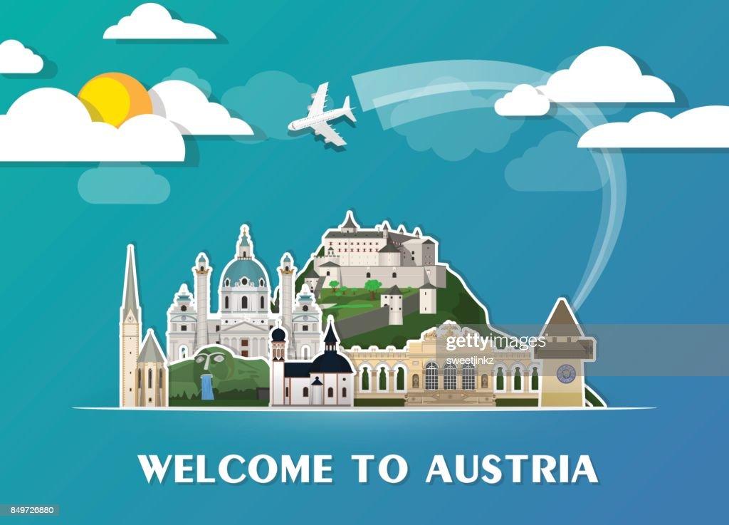 Austria travel background Landmark Global Travel And Journey Infographic Vector Design Template. illustration