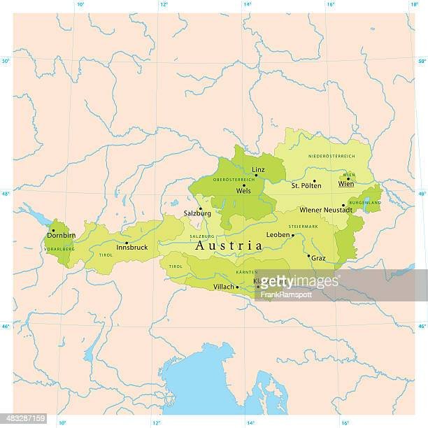 österreich vektor-karte - bodensee karte stock-grafiken, -clipart, -cartoons und -symbole