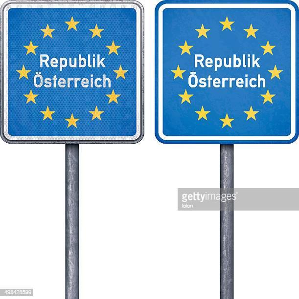 Österreichische border road sign mit EU-Flagge