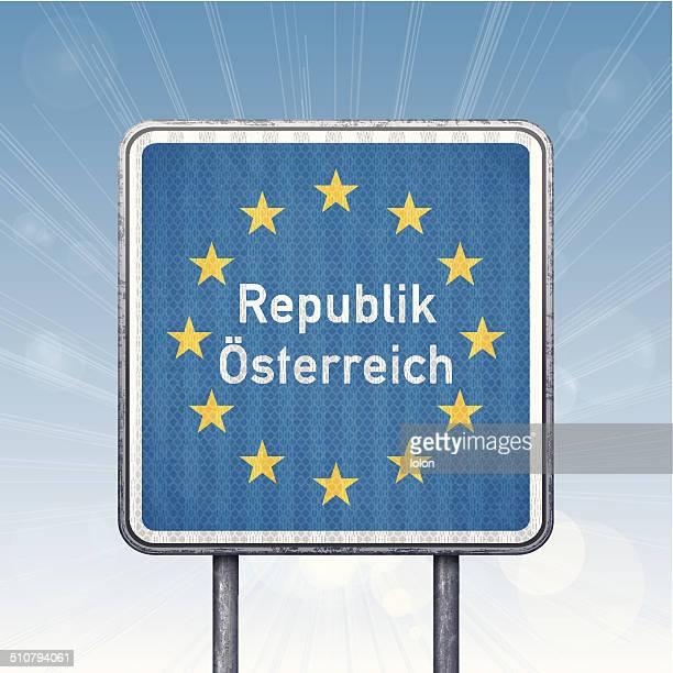 Österreichischen Grenze Ampel mit EU-Flagge