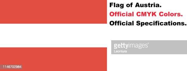 Österreichische Flagge (Offizielle CMYK-Farben und-Spezifikationen)