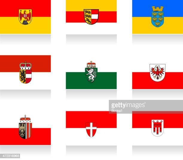 austrian states flag collection - vorarlberg stock illustrations