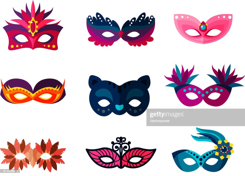 Authentic handmade venetian painted carnival face masks party decoration masquerade vector illustration