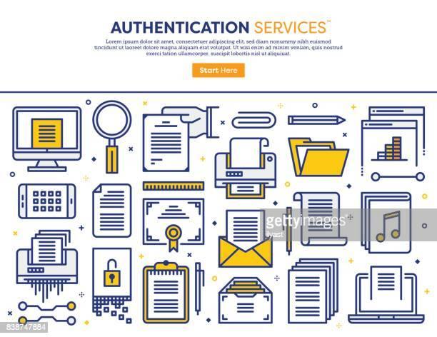 ilustrações, clipart, desenhos animados e ícones de conceito de serviços de autenticação - impressão de computador