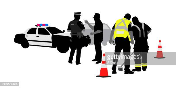 authorities arrive - graphic car accidents stock illustrations