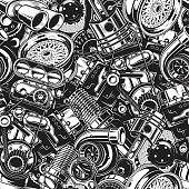 Autimobile car parts seamless pattern