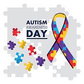 autism awareness day puzzles shape ribbon celebration card