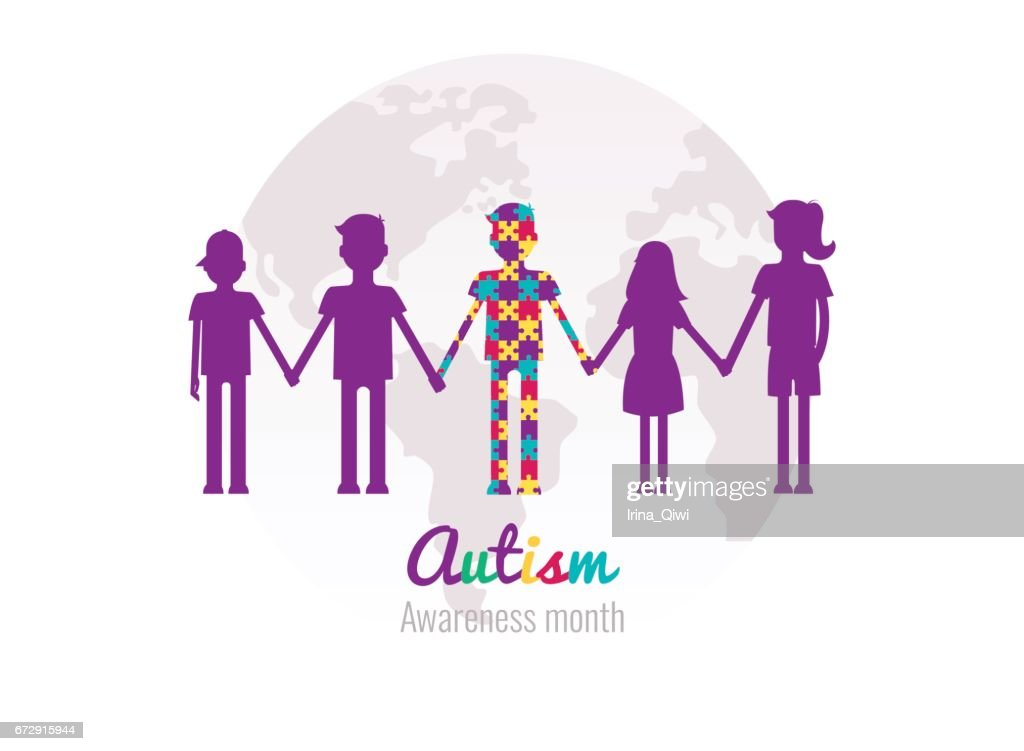 Autism awareness month colorful background with puzzles, kids and planet.